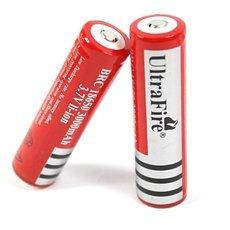 2pcs UltraFire 18650 3.7V 3000mAh Li-Ion Rechargeable Batteries Red