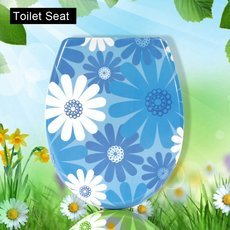 Sunflower & Jasmine Pattern Urea Formaldehyde Toilet Seat Cover Plate with Hardware Fitting