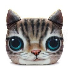 38 x 30cm Plush Creative 3D Lovely Cat Throw Pillow Sofa Car Seat Cushion Brown