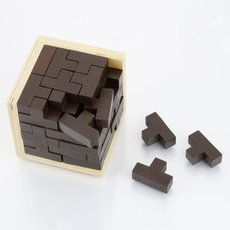Intelligent Wooden Interlocked Kongming Lock Series 54-T Magic Cube Lock Assembly Puzzle Toy Wood Color & Dark Brown