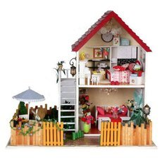 DIY Creative Cute Wooden 2-Floor House Model Toy White & Red & Multi-Color