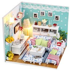DIY Creative Cute Wooden Living Room Model Toy White & Blue & Multicolored