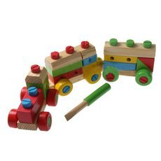 Train Shaped Wooden Stacking Block Game Toy