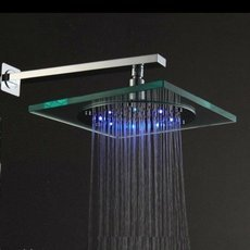 7.83 inch Stainless Steel Rainfall Shower Head with Temperature Sensor Color Changing LED Light