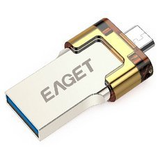 EAGET V80 32GB Ultra Metal USB Flash Drive USB 3.0 OTG Smartphone Drive USB Thumb Drive Light Golden