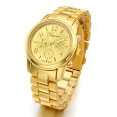 Round Dial Fake Three-subdial Alloy Unisex Wrist Watch Golden