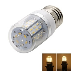 E27 5W 48 LED 3014SMD 3000-3500K Warm White Dimmable Light LED Corn Bulb with Transparent Lampshade (100-120V)
