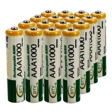 16pcs BTY AAA 1.2V 1000mAh Rechargeable Ni-MH Batteries