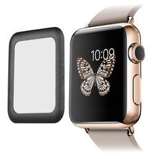 Link Dream Tempered Glass Screen Film with Full Cover Metal Edge for Smart Apple Watch (38mm Black )