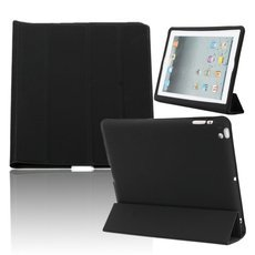 Double Side Wake up/Sleep Smart Cover PU Leather Case for iPad 2/3/4 Black