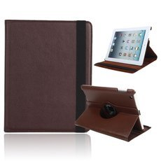 360 Degree Rotating Stand Litchi Leather Case for iPad 2/3/4 Brown