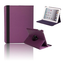 360 Degree Rotating Stand Litchi Leather Case for iPad 2/3/4 Purple