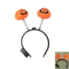 Halloween Luminous Pumpkin Head Band Orange&Black
