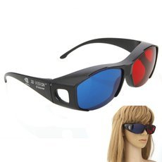 A62 Plastic Frame Resin Lens Anaglyphic Blue + Red 3D Glasses