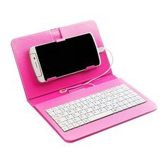 "General Wired Keyboard Flip Holster Case for Andriod Mobile Phone 4-6.8"" Pink"