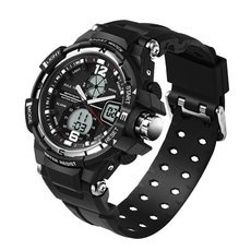 SANDA Fashion Unisex Style Dual Movement 50m Waterproof LED Sports Military Watch Black & Silver