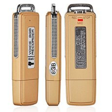Mini USB Flash Drive Disk Shape Style 8GB Digital Voice Recorder Golden