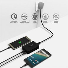 AUKEY QC3.0 5-USB Charger Wall Travel Adapter for Cellphone Tablet Black UK Plug