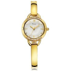 KIMIO KW6011S Elegant Round Dial Rhinestoned Bezel Quartz Woman Wrist Watch Golden