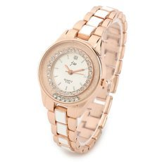 JW Elegant Rhinestoned Round Dial Zinc Alloy Casing Quartz Woman Wrist Watch White & Golden (1 x AG4)