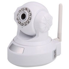 H.264 G.727 Video/Audio Wireless Wifi Plug-in TF Card IP Camera White