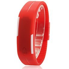 Smart Touching Operation Rectangle Dial Plastic Wrist Watch Red