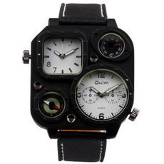 Oulm HP1169 Dual-Movement Decorative Compass Thermometer Military Quartz Man Wrist Watch Leather Band Black & White