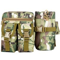 Tactical Military Waist Bag Pouch Haversack Messenger Bag with Bottle Pack for Camping Hiking CP
