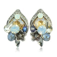 2pcs Ethnic Style Retro Rhinestone Women Earrings Champagne Color