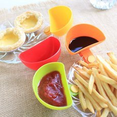 4PCS Assorted Mini Dip Clips Side Bowls Dish Plate Sauce Design Red & Green & Orange & Yellow