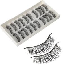 10 Pairs Pro Makeup Thick Long Cross False Fake Eyelashes Black H-3