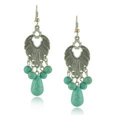 2pcs E1502 Ethnic Style Engraving Leaf Turquoise Ball Pendant Woman Earrings Silver & Green