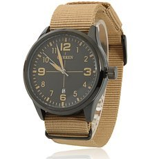 CURREN 8195 All-matching American Army Watch Black Dial Black Alloy Case Men's Wrist Watch with Khaki Braided Watchband
