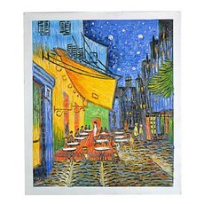 "Famous Canvas Hand-painted Oil Painting ""Cafe Terrace at Night"" of Vincent Van Gogh Multicolored"