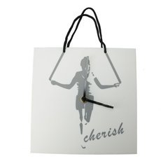 Creative Hand Bag Shaped Abstract Figure Rope Skipping Wall Clock White & Black