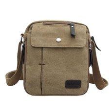 Men Leisure Type Outdoor Multifunctional Canvas Shoulder Bag Khaki