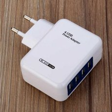 Home Wall 4 USB Ports Power Supply Adapter Charger for iPad iPhone Samsung Xiaomi Mobile Phone EU Plug White & Blue