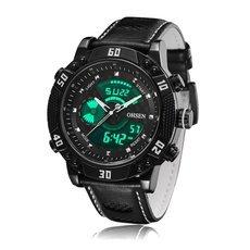OHSEN AD1609 Analog Digital Display Back Light 30M Water Resistant Leather Band Men Quartz Watch Black Case White Number