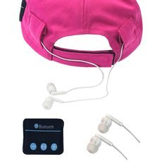 Wearable Music Player Bluetooth Baseball Cap Hands-free Headset Rose Red