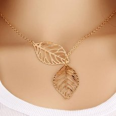 Vintage Dual Big Leaves Pendant Clavicle Chain Necklace for Women Golden