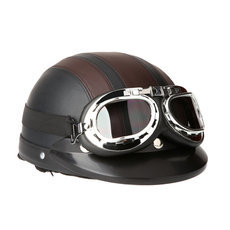 Motorcycle Scooter Open Face Half Leather Helmet with Visor UV Goggles Retro 54-60cm for Security Accessories