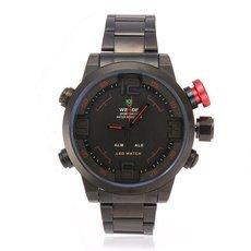 WEIDE WH2309B Military Sports Alarm LED Analog & Digital Display Stainless Steel Band 3AMT Waterproof Quartz Men Wrist Watch Black & Red