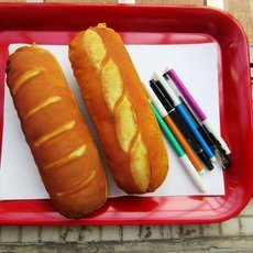 Creative Simulation Cheese Bread Cute Purse Wallet Pencil Pen Stationery Bag Storage Pouch Orange
