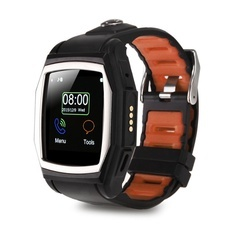 GT68 Outdoor GPS Compass Heart Rate Monitor Bluetooth Smart Watch Phone Black & Orange
