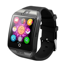 Q18 1.54'' Curved Screen MTK6260A Bluetooth 3.0 SIM Card Smart Watch for Android & iOS Black