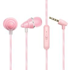 S12 Newest Colorful Crystal Cable Mega Bass Earplug In-Ear Drive-by-Wire HIFI Headset with Microphone Pink