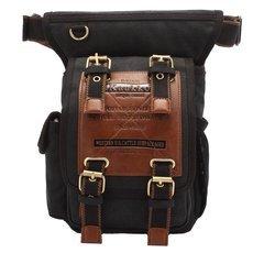 KAUKKO Men Retro Canvas Messenger Waist Leg Bag Travel Crossbody Bag Black