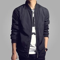 Men's Jackets Solid Fashion Coats Casual Slim Stand Collar Jacket