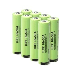 8pcs TLIFE 3.7V 2200mAh 18650 Rechargeable Li-ion Batteries with Protection Board Button-top Green