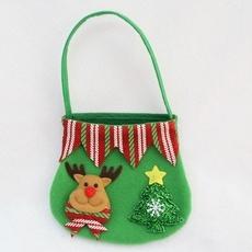 Christmas Candy Bag Reindeer Gift Bag Fruit Candy Storage Bag Christmas Decor Green